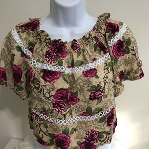 LF One Way Crop Top 6 Vintage Roses & Embroidery
